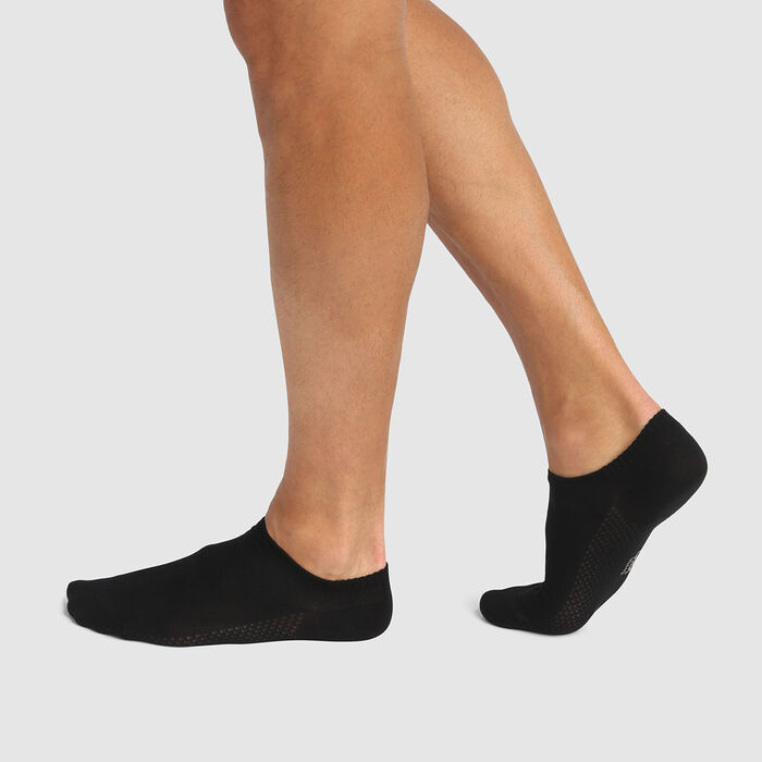 Pack de 2 pares de calcetines bajos para hombre viscosa negra Bambou, , DIM