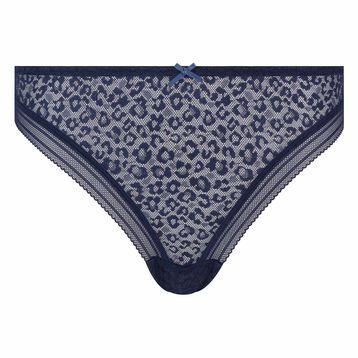 Tanga de microfibra azul estampado encaje de leopardo Dotty Mesh, , DIM