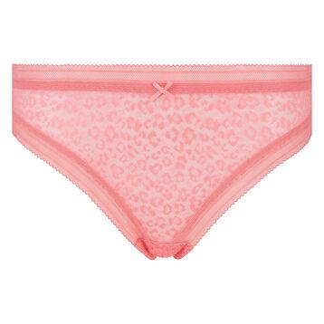 Braguita de microfibra y encaje rosa coral de leopardo Dotty Mesh, , DIM