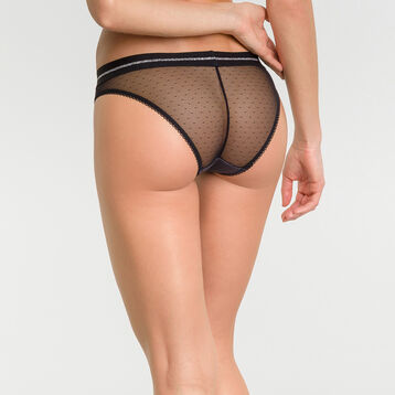 Braguita de encaje negra con estampado plumetis - Dim Trendy Micro, , DIM