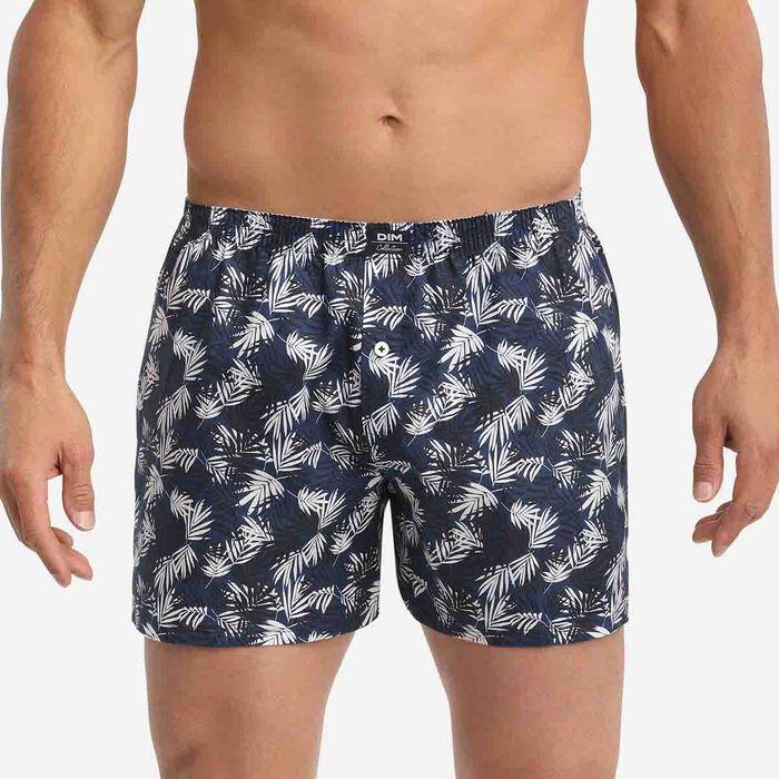 Calzoncillos para hombre de algodón con estampado de hojas Azul Noche Dim Collection, , DIM