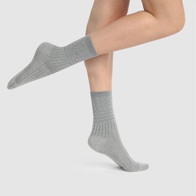 Calcetines para mujer con lana texturizada gris claro jaspeado Dim Laine, , DIM