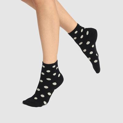 Calcetines bajos para mujer de algodón con estampado de lunares negros Coton Style, , DIM