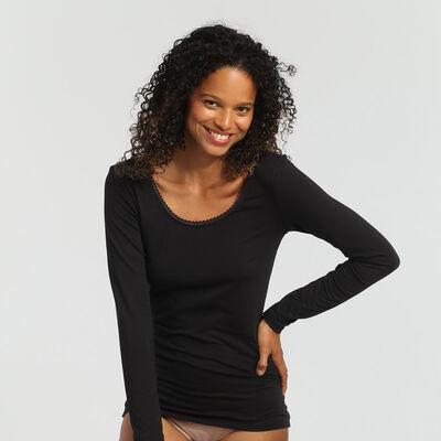 Camiseta de manga larga para mujer supercómoda negra Thermal de Dim, , DIM