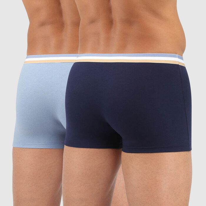 Pack de 2 bóxers de algodón elástico cintura tricolor azul EcoDIM, , DIM