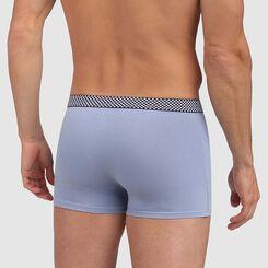 Bóxer azul de algodón elástico con cintura estampada de cuadrados Mix and Print, , DIM