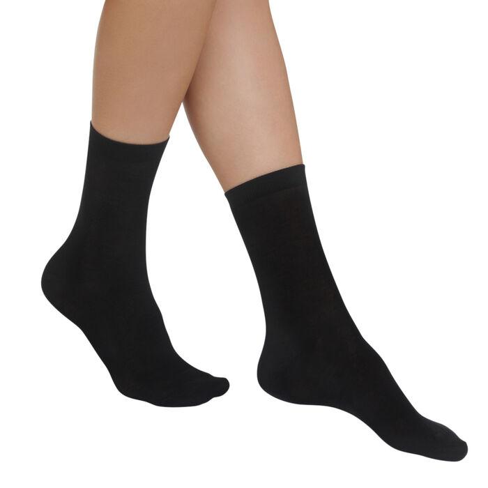 Lote de 2 pares de calcetines negros Light Coton para mujer, , DIM
