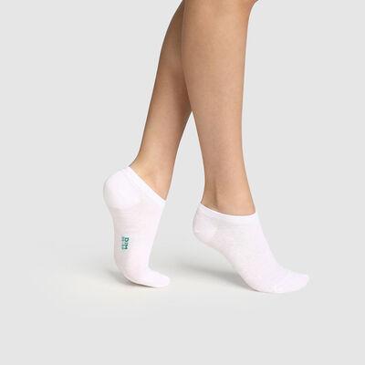 Pack de 2 pares de calcetines bajos para mujer de algodón bio blanco Green by Dim, , DIM
