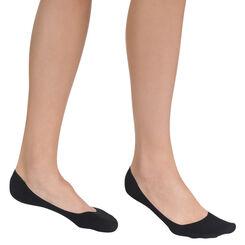 Lot de 2 paires de protège-pieds noirs en coton Femme-DIM