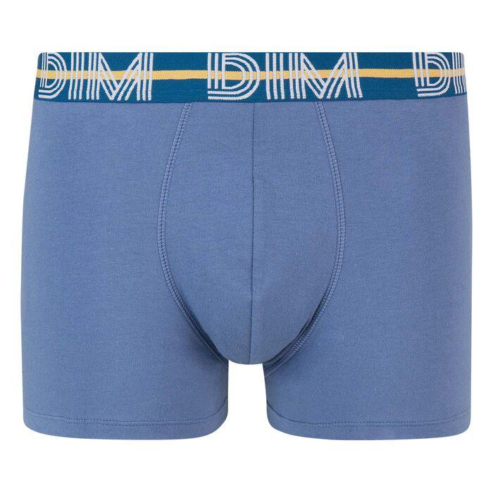 Bóxer azul de algodón elástico con la cintura verde Dim Powerful, , DIM
