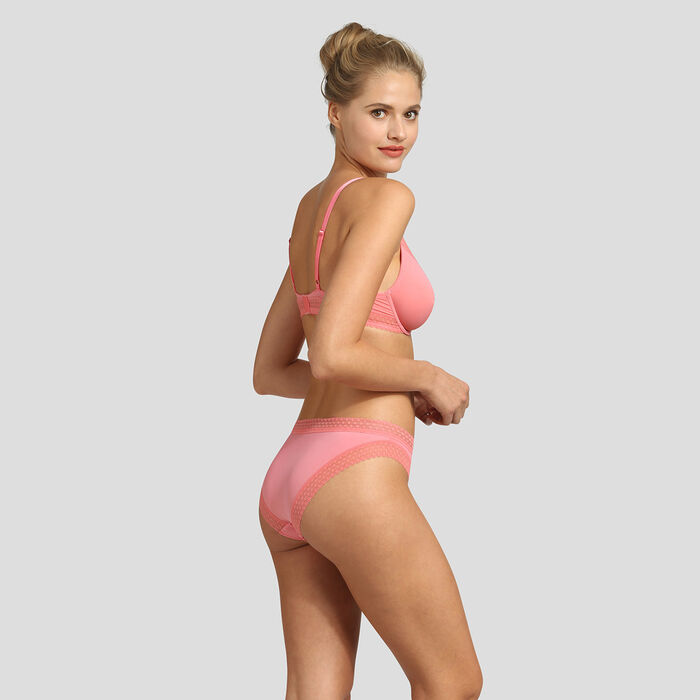 Sujetador halter con aros rosa coral Treny Micro de Dim, , DIM