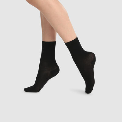Pack de 2 pares de calcetines altos para mujer lyocell negro Green by Dim, , DIM
