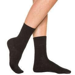 Calcetines negros para mujer de puro algodón, , DIM