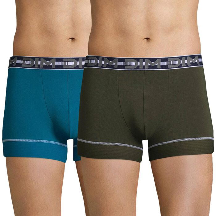 Lot de 2 boxers bleu aquatique et vert kaki 3D Stay & Fit-DIM