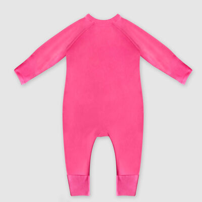 Pijama para bebé con cremallera bio rosa estampado sol corazón Dim Baby, , DIM