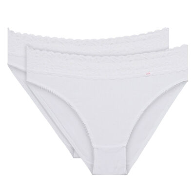 Lot de 2 slips blancs Coton Plus Féminine forme mini-DIM