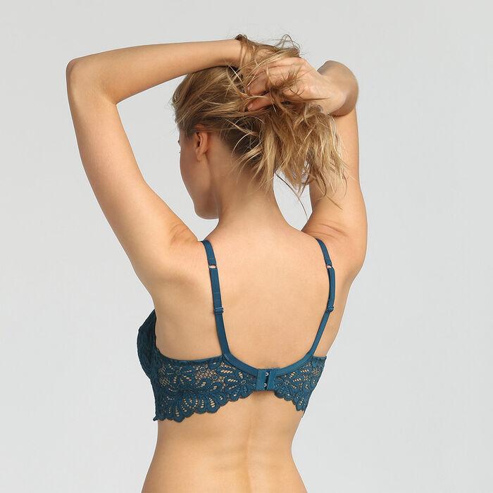 Sujetador push-up con aros y encaje azul orgánico Daily Glam Dim, , DIM