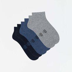 Pack de 3 pares de calcetines tobilleros para hombre azul y gris Basic Coton, , DIM