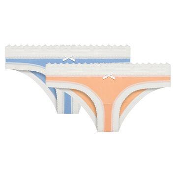 Pack de 2 culottes de algodón y encaje azul y rosa melocotón - Sexy Fashion, , DIM