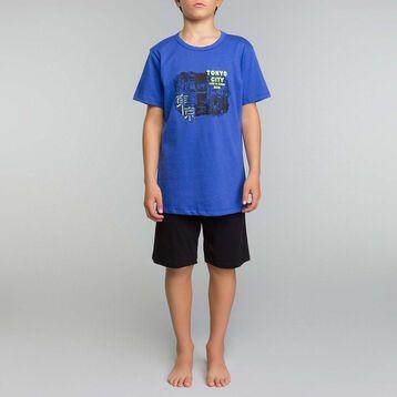 Pijama corto de niño de algodón azul y negro - Nuit Tokyo, , DIM