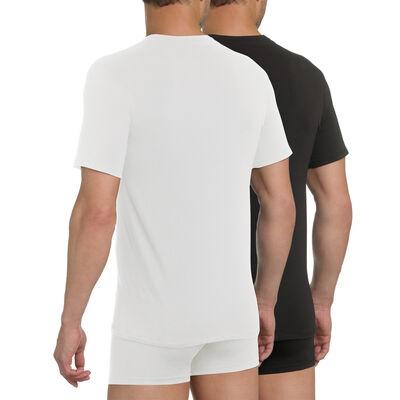 Pack de 2 camisetas de cuello pico blanca y negro X-Temp, , DIM