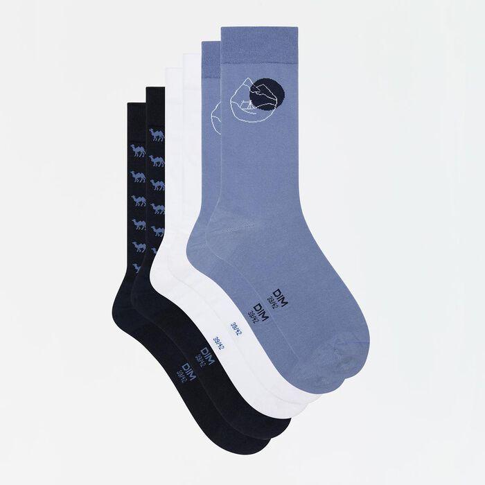 Pack de 3 pares de calcetines de algodón hombre estampado azul Coton Style, , DIM