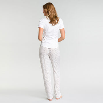 Pantalón largo de pijama blanco con estampado de manchas - Fashion  , , DIM