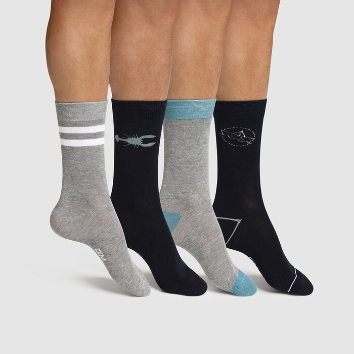 Pack de 4 pares de calcetines para hombre estampado marinero azul Les Bons Plans, , DIM
