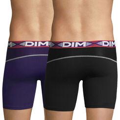Lot de 2 boxers longs noir et violet auburn 3D Flex Air-DIM