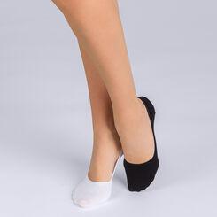Pack de 2 salvapies de algodón negro y blanco para mujer Basic Coton, , DIM