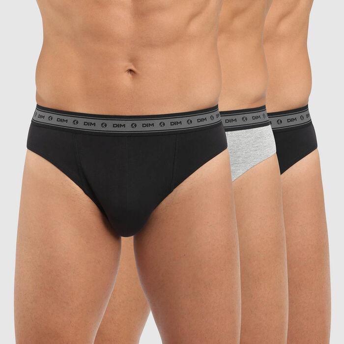 Pack de 3 slips para hombre de algodón elástico bio negro y gris Green by Dim, , DIM