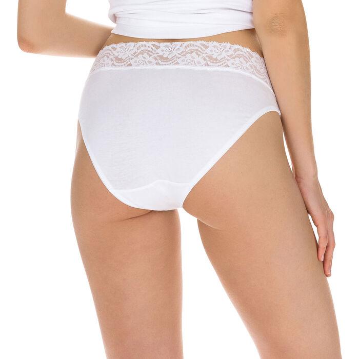 Pack de 2 braguitas blancas de algodón elástico mini Coton Plus Féminine, , DIM