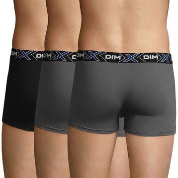 Pack de 3 bóxers X-Temp gris oscuro y negro de algodón elástico , , DIM