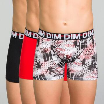 Pack de 3 bóxers niño de algodón negro, rojo y estampado - Trio Dim, , DIM