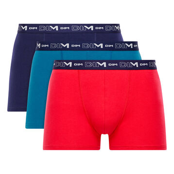 Pack de 3 bóxers rojo, azul antiguo y azul marino - Coton Stretch, , DIM
