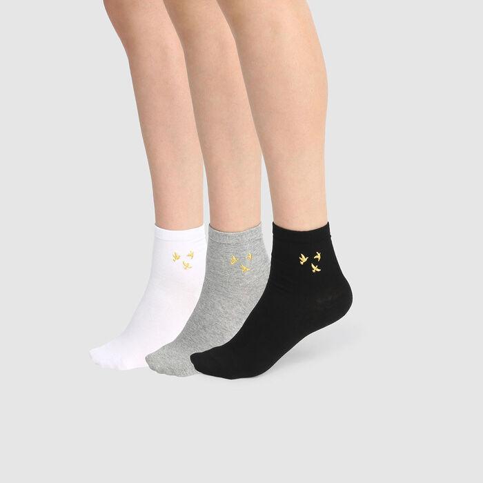 Pack de 3 calcetines bajos lurex estampado pájaro blanco y negro Coton Style, , DIM