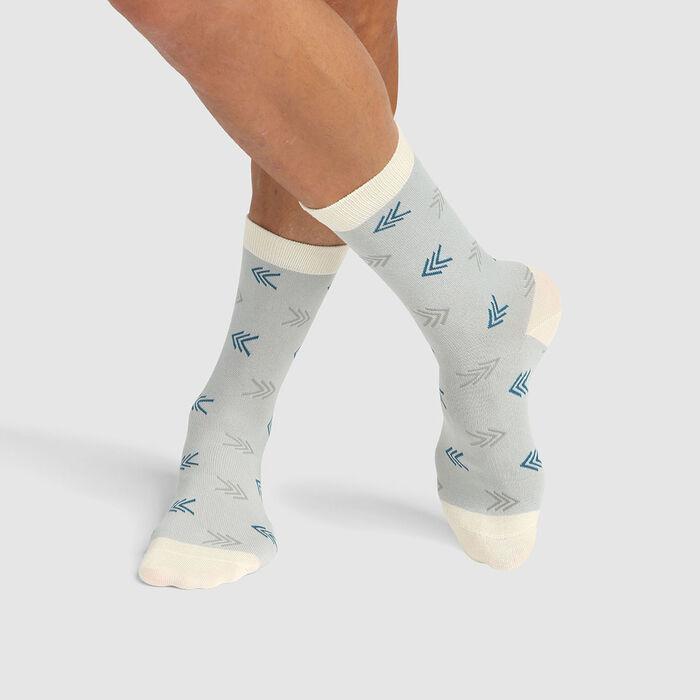 Calcetines unisex de algodón peinado estampado flechas azul Color Sox, , DIM