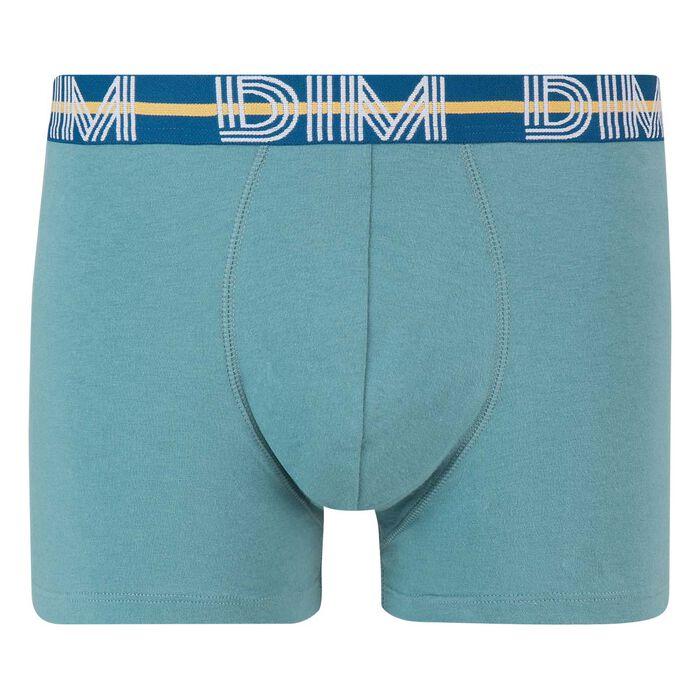 Bóxer verde azulado de algodón elástico con la cintura verde Dim Powerful, , DIM