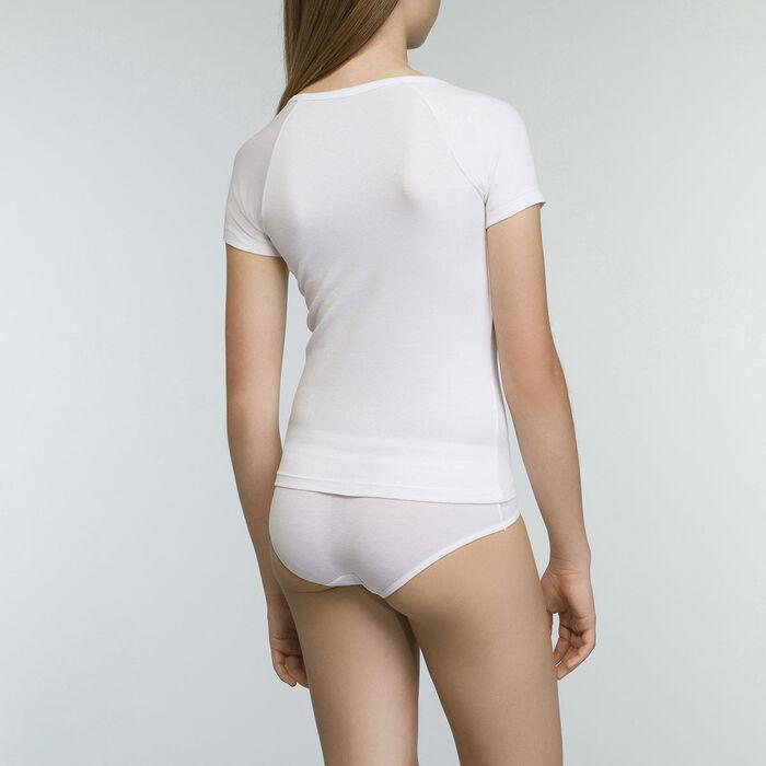 Camiseta blanca niña de manga corta de algodón elástico Dim Sport, , DIM