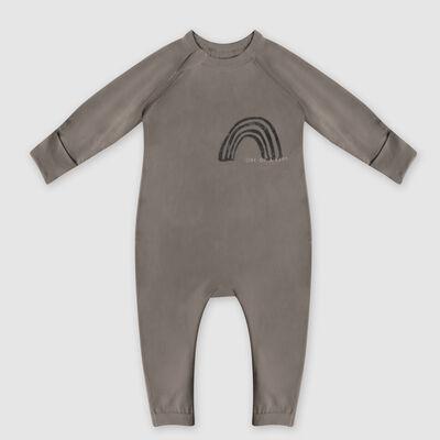 Pijama de bebé con cremallera de algodón bio caqui estampado arco iris corazón Dim Baby, , DIM