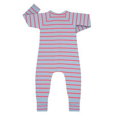 Pijama con cremallera de algodón elástico de rayas azules y fucsias, , DIM