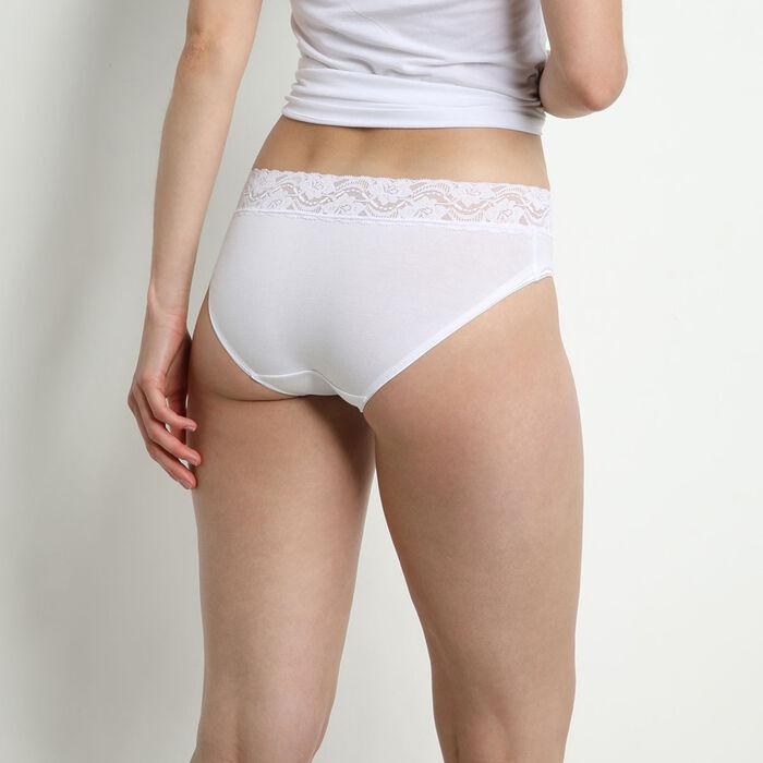 Lote de 2 slips blancos Coton Plus Féminine de talle medio, , DIM