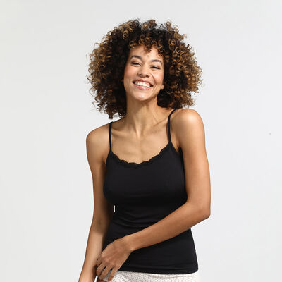 Camiseta interior negra con encaje Les Pockets, , DIM