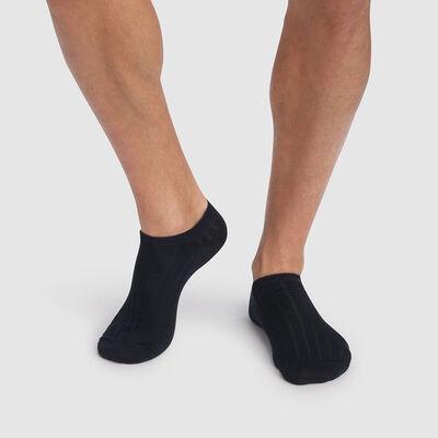Pack de 2 pares de calcetines tobilleros para hombre azul marino de hilo de Escocia, , DIM