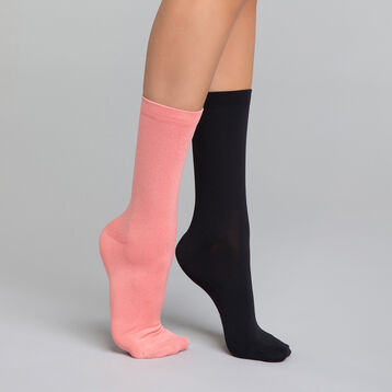 Pack de 2 pares de calcetines mujer negros y rosas - Skin, , DIM