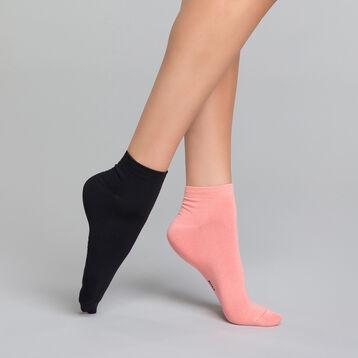 Pack de 2 pares de calcetines bajos negros y rosas - Skin, , DIM
