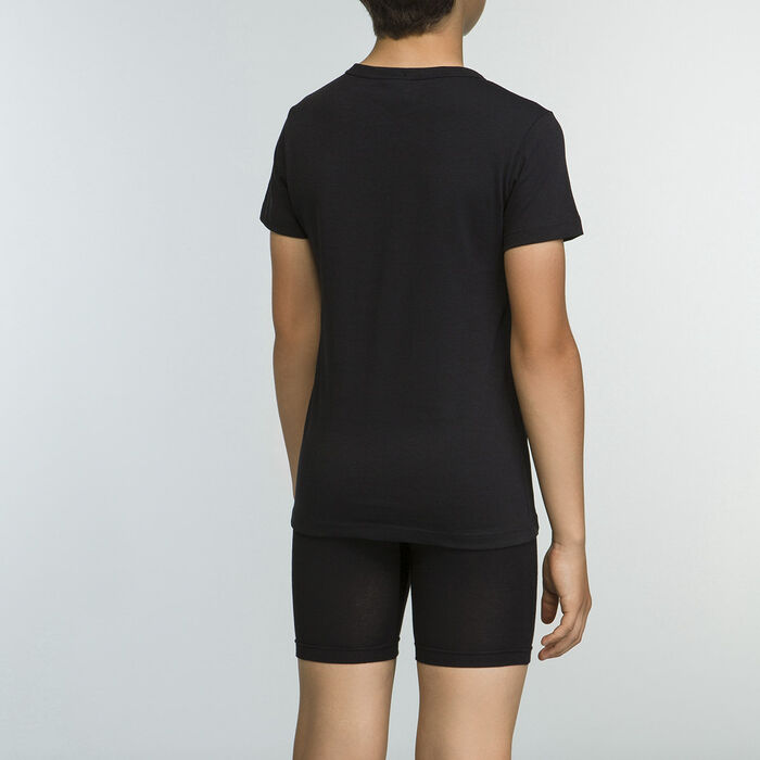 Camiseta negra niño 100% algodón Basico Sport, , DIM