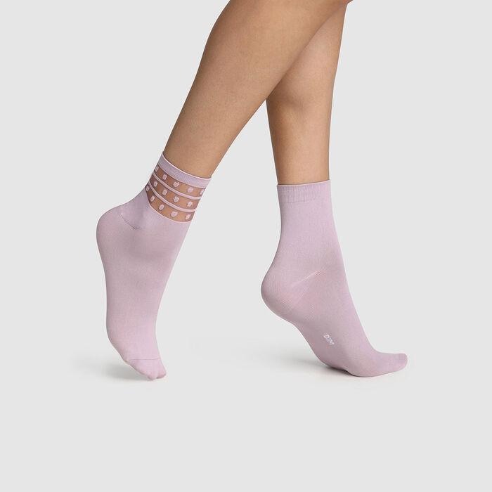 Pack de 2 pares de calcetines bajos para mujer de microfibra y lunares lavanda Dim Skin, , DIM