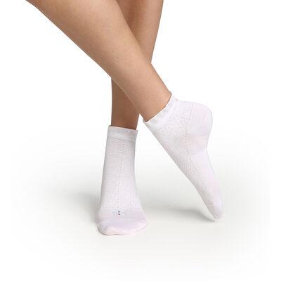 Calcetines bajos para mujer hilo de Escocia con un volante en el borde blanco Dim Made in France, , DIM