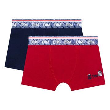 Pack de 2 bóxers niño de algodón azul y rojo - Deauville, , DIM